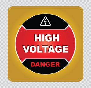 high voltage sticker rounded corners