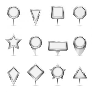 different metal shaped signs