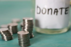 donation jar with money