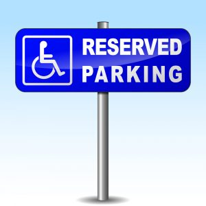 blue white disabled parking sign