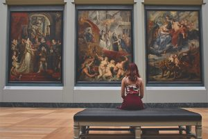 religious triptych museum with woman