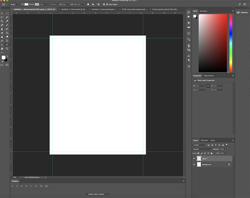document set up with full bleed in photoshop