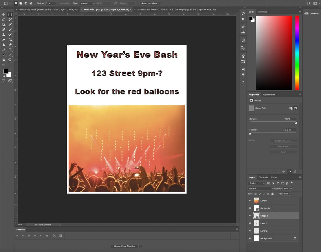 how to do crop marks in photoshop final poster