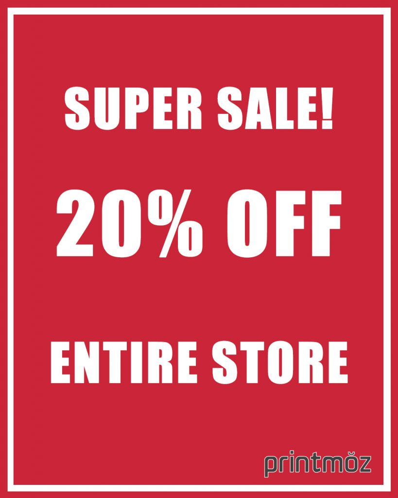 standard foam core sizes 16 x 20 20 percent off sale sign