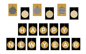 Black and Gold Happy New Year Eve Banner