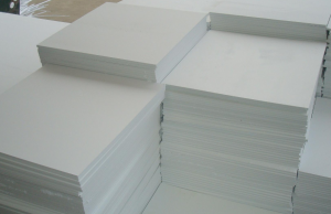stacks of white foam core board