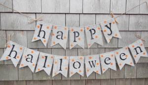 DIY Happy Halloween burlap banner