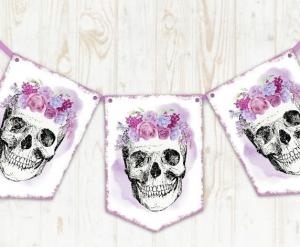 custom skull bunting banner