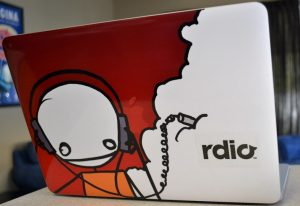 a radio character laptop sticker