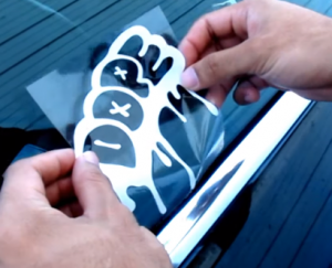 car sticker applying