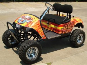 golf cart with fire designed decal
