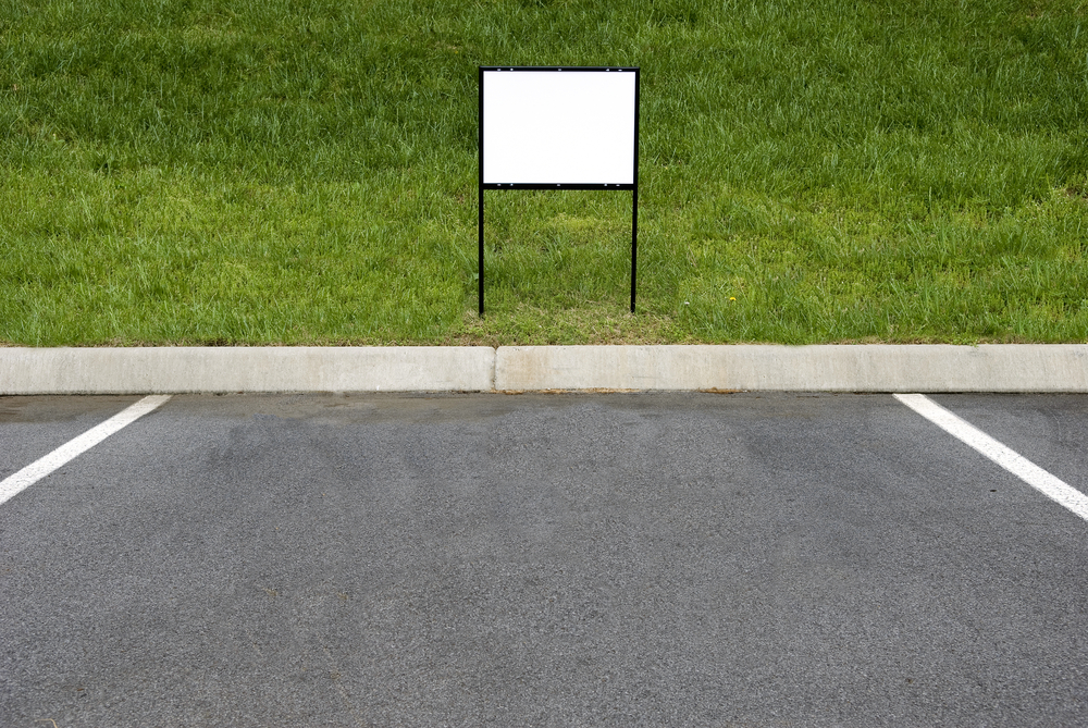 blank bandit sign on grass