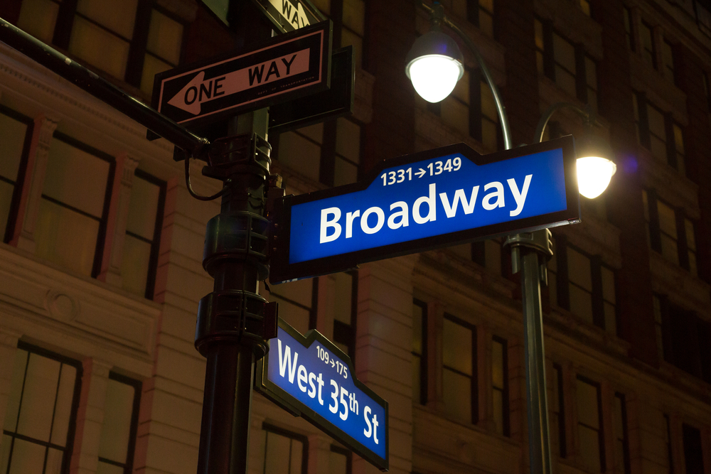 broadway backlit street signs