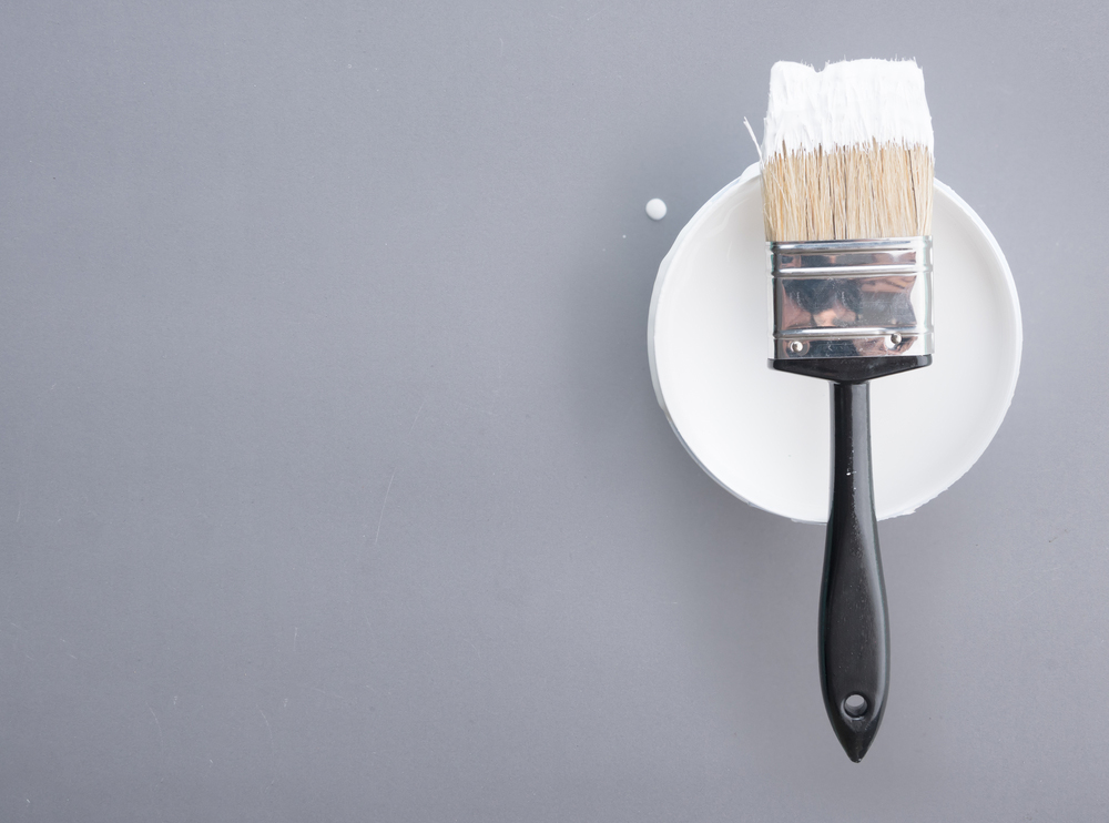 spot white paint brush on a dish