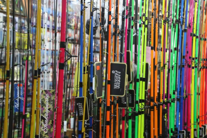 colorful fishing rods