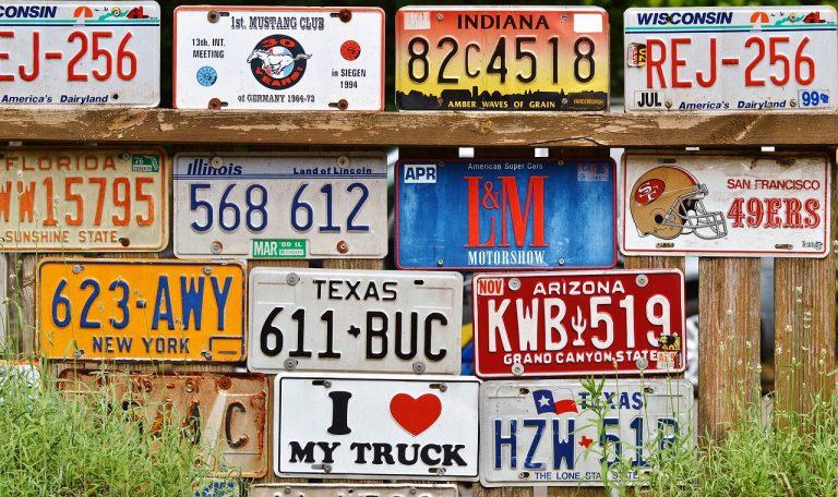 many license plates