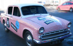 car with stickers