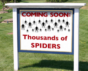 funny spider yard sign