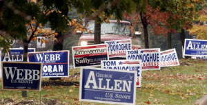 tons of political signs on a yard