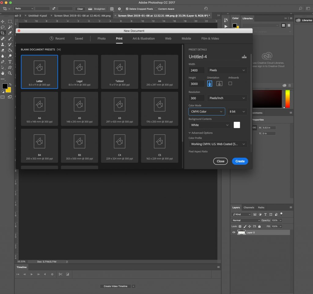 how to set up a 300 dpi file in photoshop