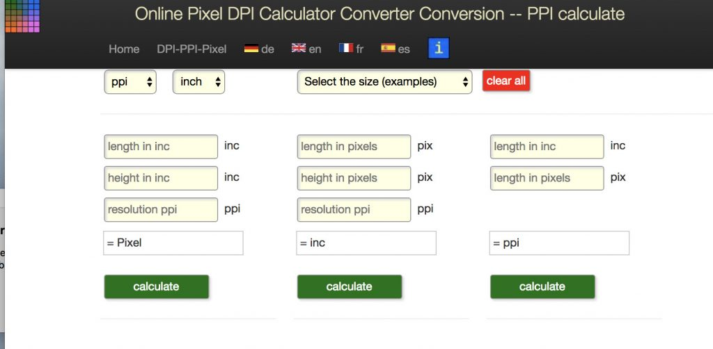 online pixel calculator screenshot